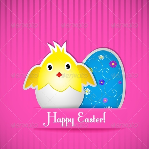 Easter Card With Chicken and Egg - Miscellaneous Seasons/Holidays