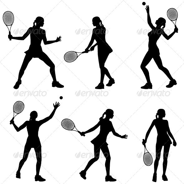 Woman Tennis Player Silhouette - Sports/Activity Conceptual