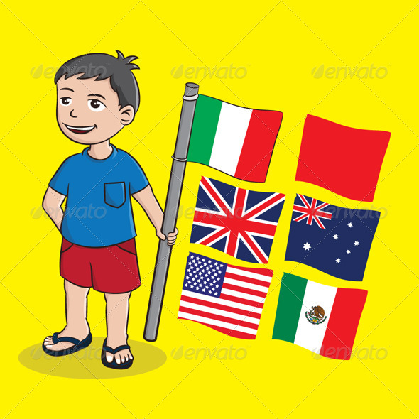 GraphicRiver Boy and Flag 4175941