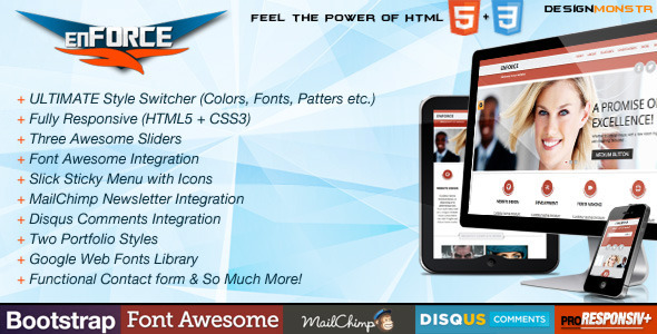 ThemeForest enFORCE BootStrap Responsive HTML5 Template 4152109