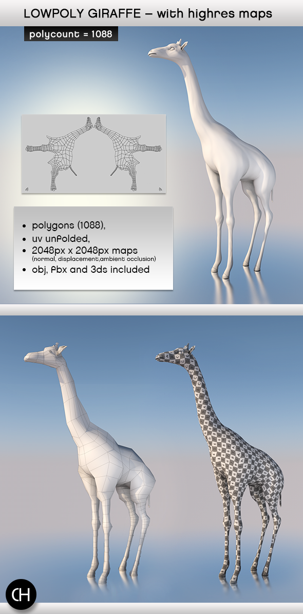 3DOcean Realistic Lowpoly Giraffe with Highres Maps 4176569