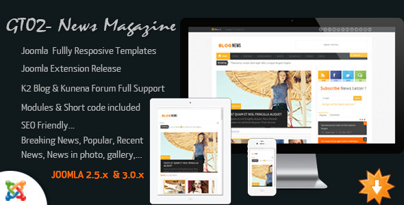 News Magazine - Joomla Responsive Templates - News / Editorial Blog / Magazine
