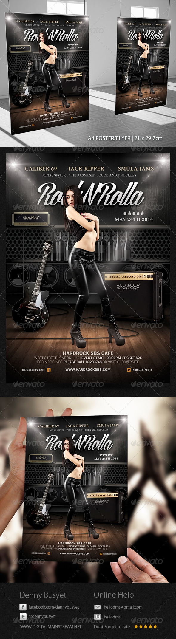GraphicRiver Rock And Roll Music Poster Flyer Template 4177218