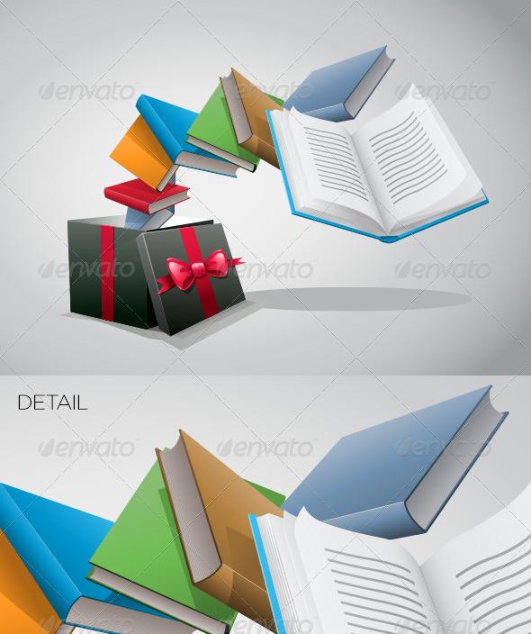 GraphicRiver Gift Box And Books 4177272