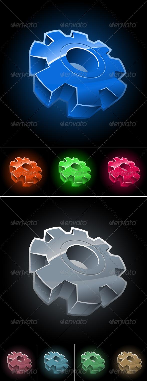 GraphicRiver Gear Wheel Symbol Set 4177373