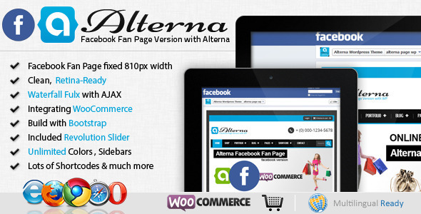 ThemeForest Alterna Facebook Fan Page with WordPress Theme 4177622