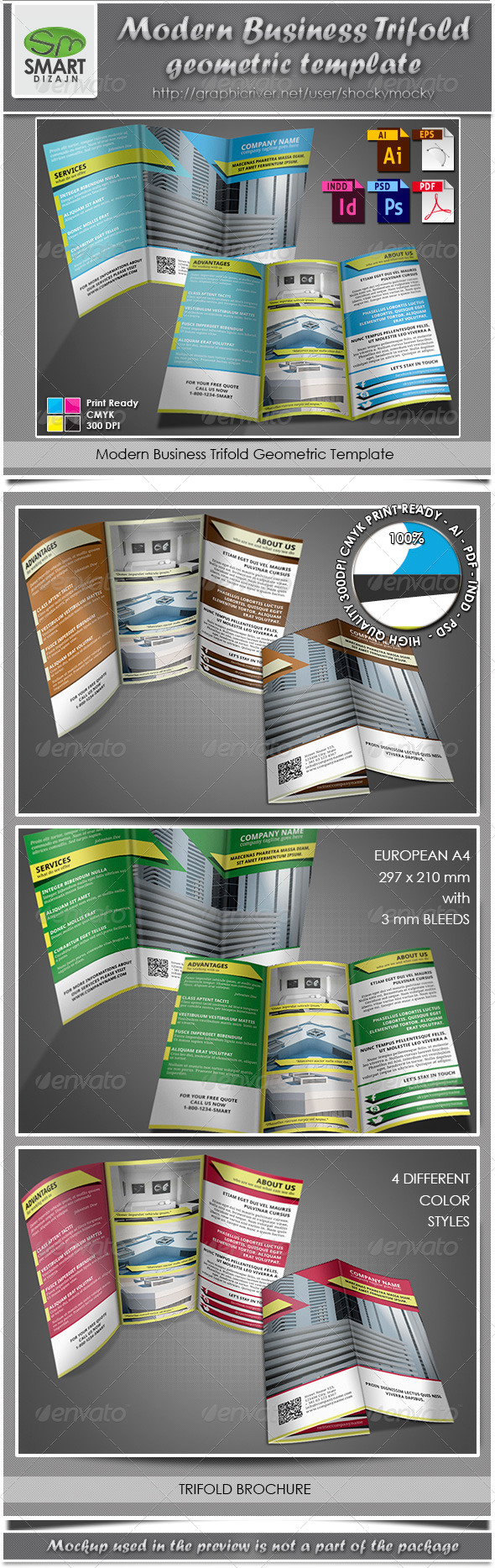 GraphicRiver Modern Business Trifold Geometric Template 3854209