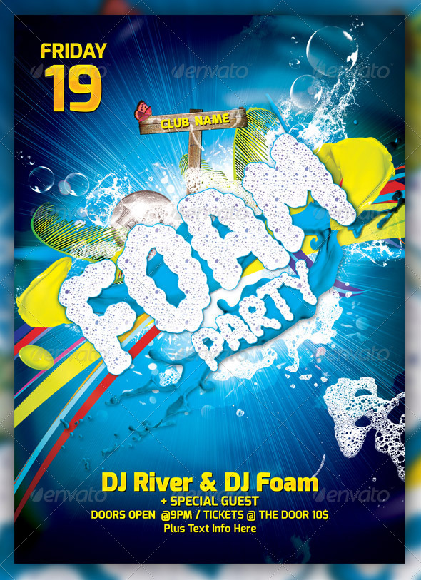 GraphicRiver Foam Party Flayer Template 4178921