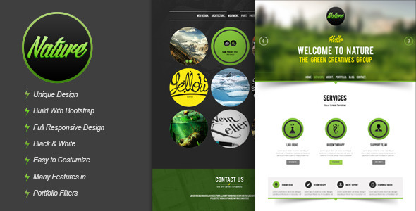ThemeForest Nature Responsive HTML5 Onepage Template 4179009