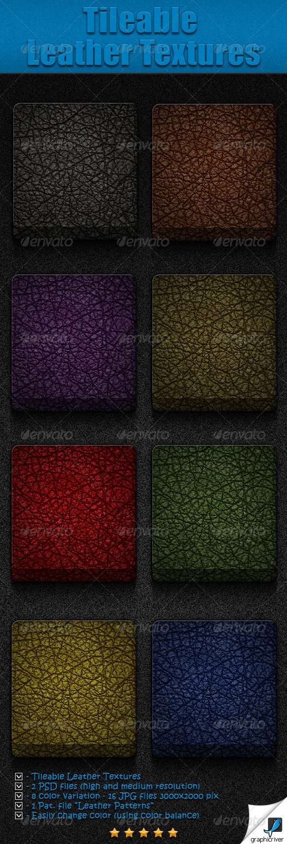 GraphicRiver Tileable Leather Textures 4180178