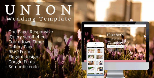 ThemeForest Union One Page Responsive Wedding Template 4180594