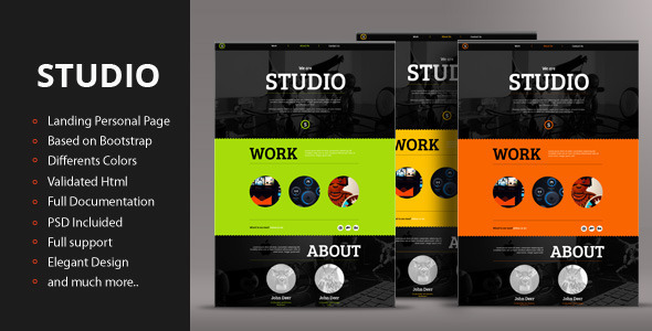 ThemeForest Studio Responsive Landing Personal Page 4180900