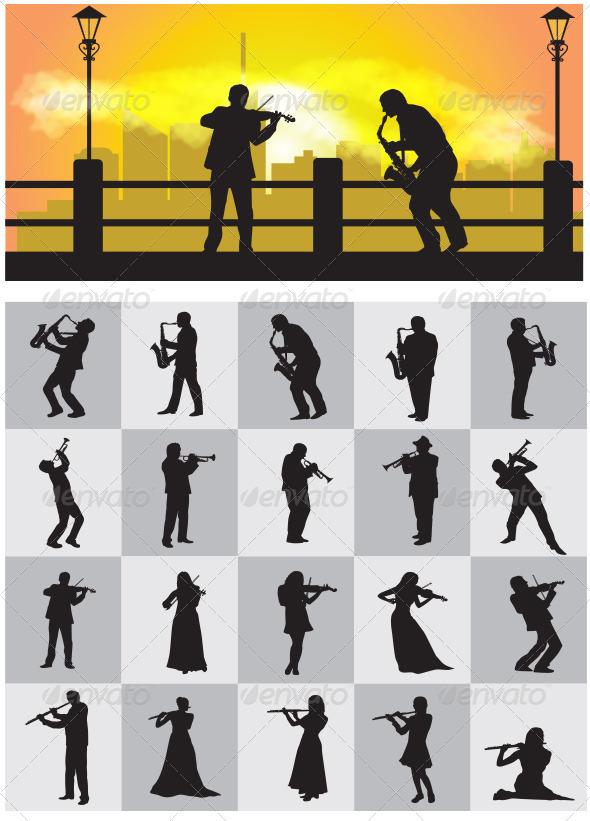 GraphicRiver Musician Silhouettes 4181164