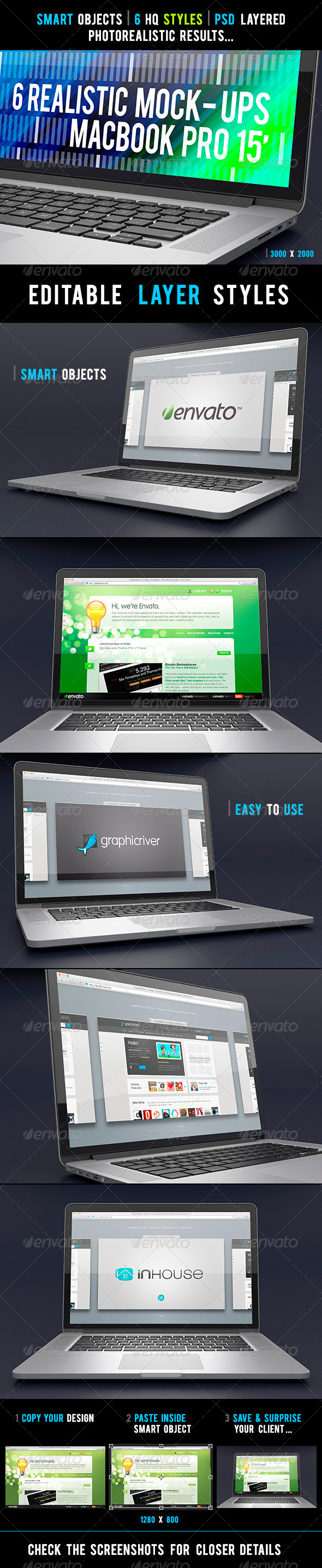GraphicRiver 6 Realistic Laptop Mock-Ups 4181773