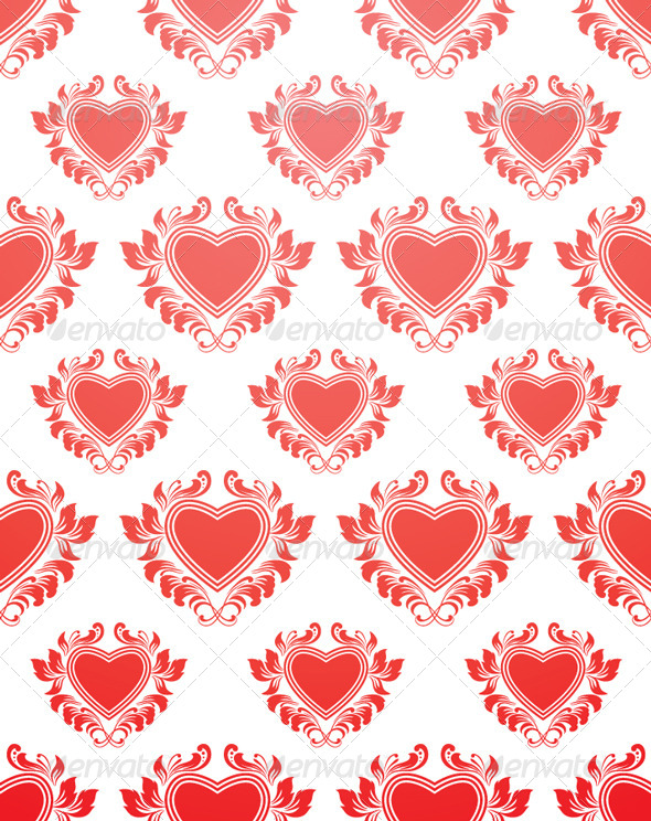 GraphicRiver Red Heart Pattern 4181854