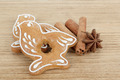 Gingerbread cookies birds with star anise and cinnamon