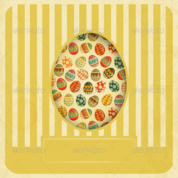 GraphicRiver Vintage Yellow Easter Card 4182049