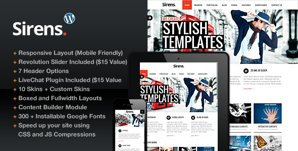 ThemeForest Sirens Multi-Purpose Stylish Business Theme 4148579