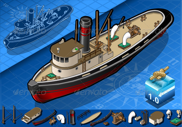 GraphicRiver Isometric Old Tugboat 4182434