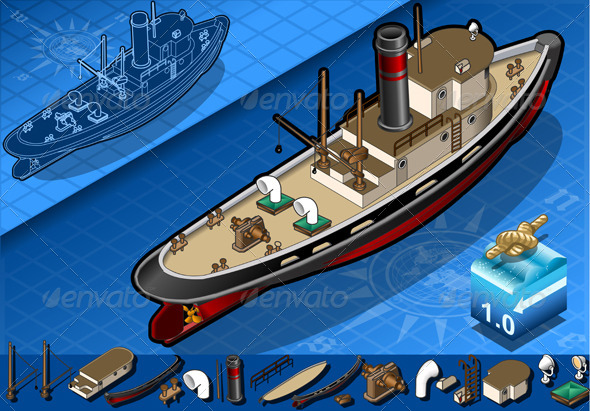 GraphicRiver Isometric Old Tugboat 4182448