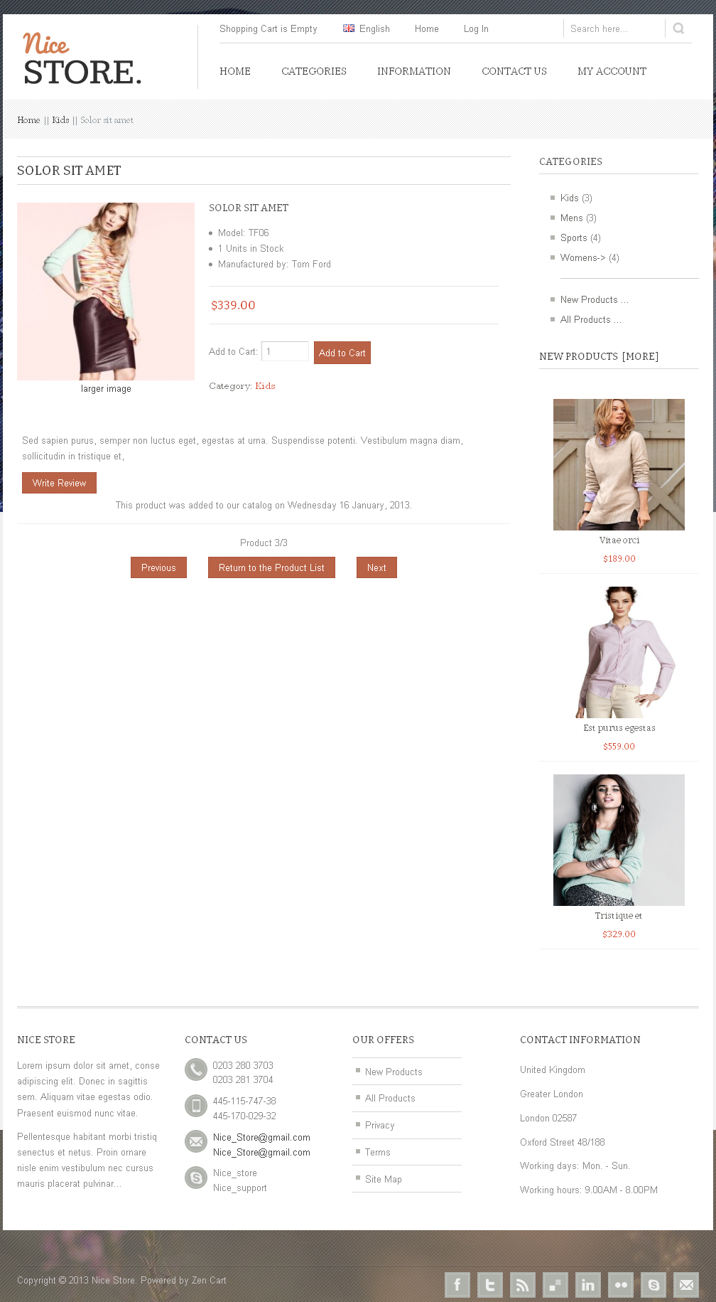 Nicestore - Clean Zencart Theme