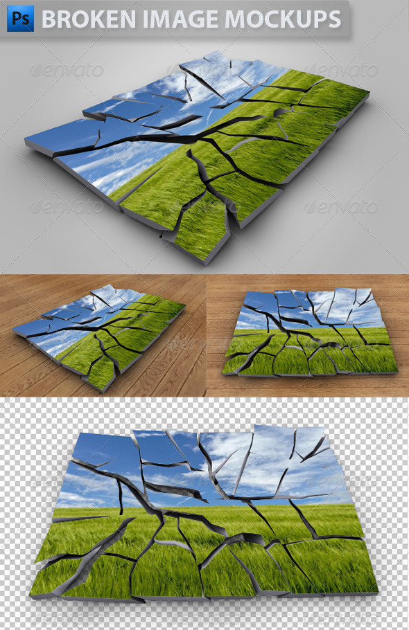 3D Broken Image Mockups - Artistic Photo Templates