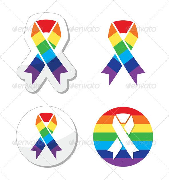 GraphicRiver Rainbow Flag Ribbon Symbol of Gay Pride 4184365