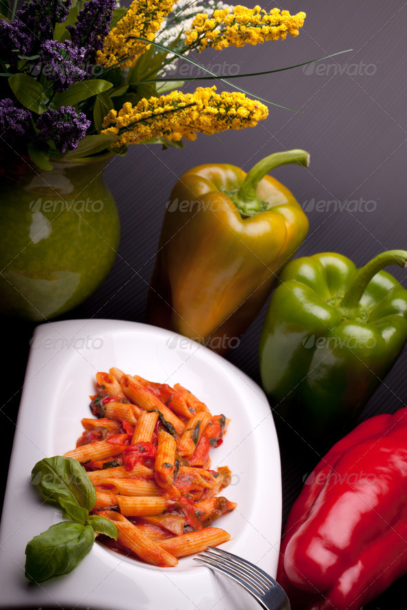 PhotoDune Italian Pasta With Peppers Sauce 4184635