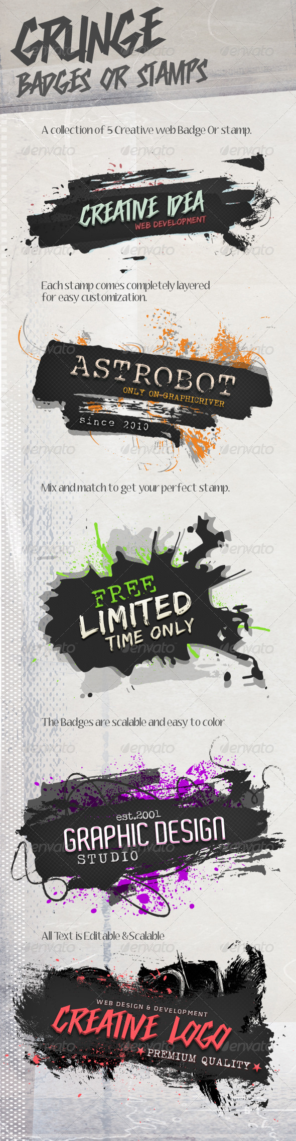 GraphicRiver Grunge Badges Stamps 4185134