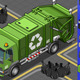 Isometric Garbage Truck in Front View - GraphicRiver Item for Sale