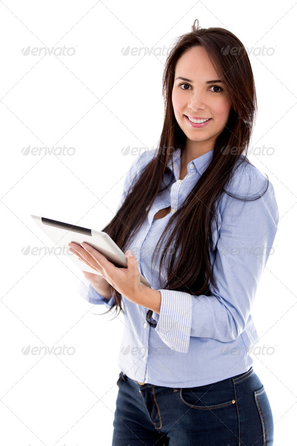 Casual woman using a tablet - Stock Photo - Images
