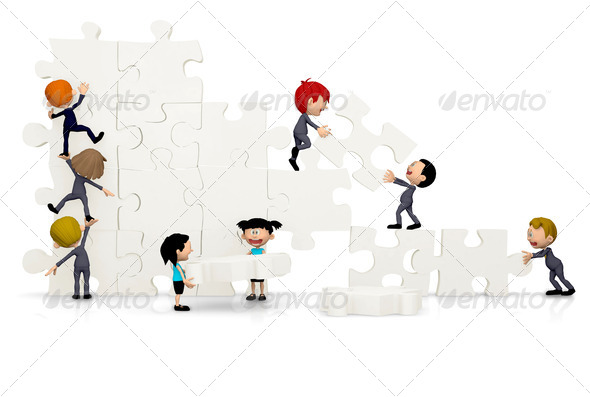 3D Business team arranging a puzzle - Stock Photo - Images