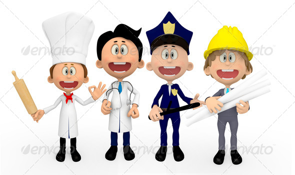 3D professions - Stock Photo - Images