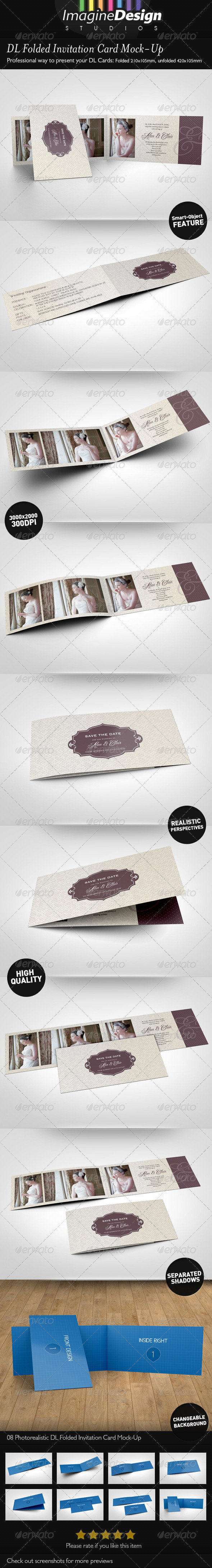 DL Folded Invitation Card Mock-Up - Print Product Mock-Ups