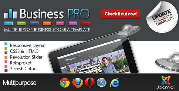 preview image.  large preview - Business Pro - Clean Responsive Joomla Template