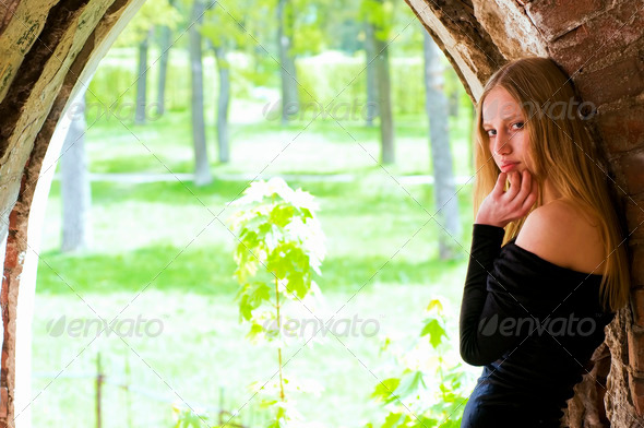 woman in the old garden - Stock Photo - Images