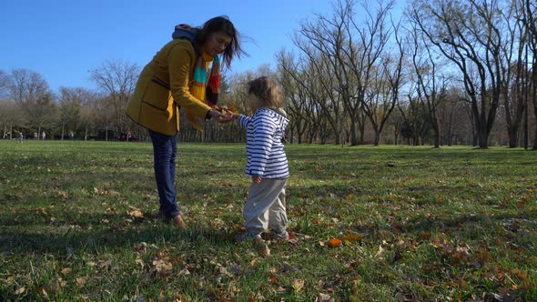 VideoHive Mother And Baby Playing In A Beautiful Autumn Park 18977771