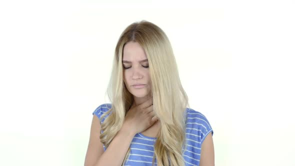 Download Coughing, Girl Suffering From Cough, White Background nulled download