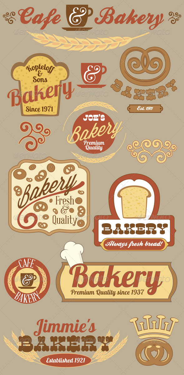 GraphicRiver Bakery Logo Badges and Labels Set 4188581