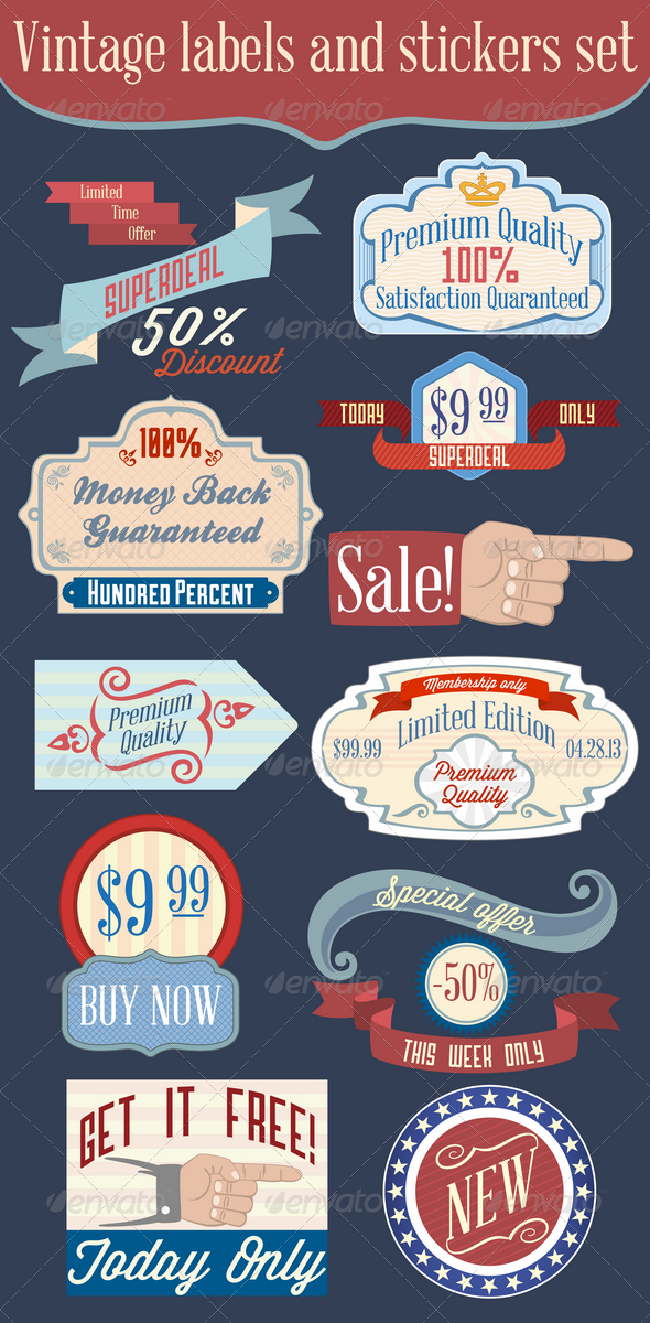GraphicRiver Vintage Labels and Stickers Set 4188586