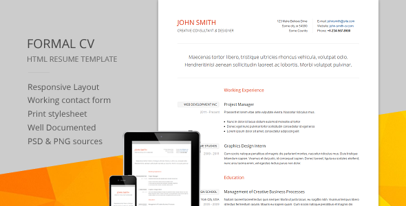 Formal CV - Responsive CV / RESUME HTML Template