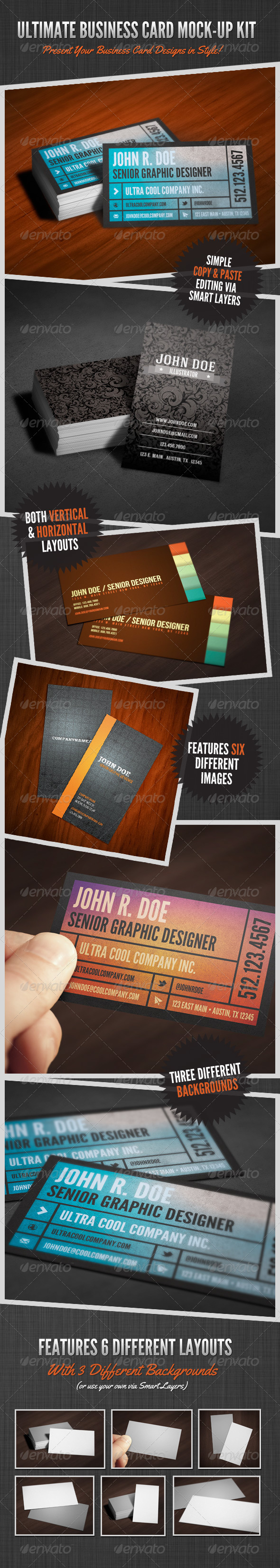 GraphicRiver Ultimate Business Card Mock-Up Kit 4189415