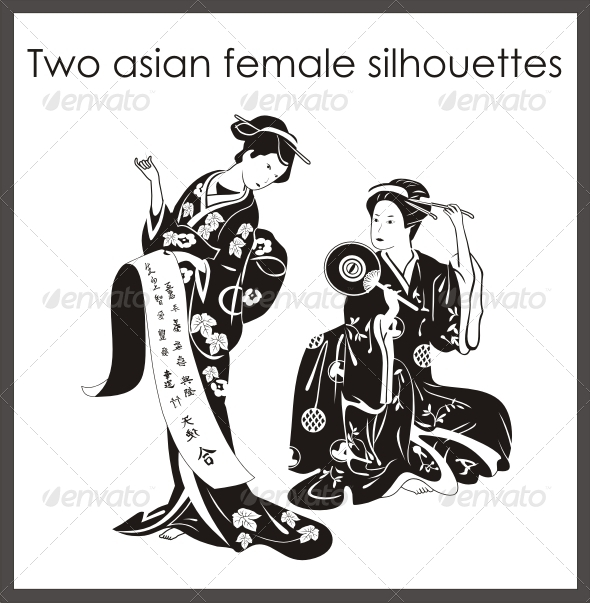 GraphicRiver Two Asian Female Silhouettes 4189523