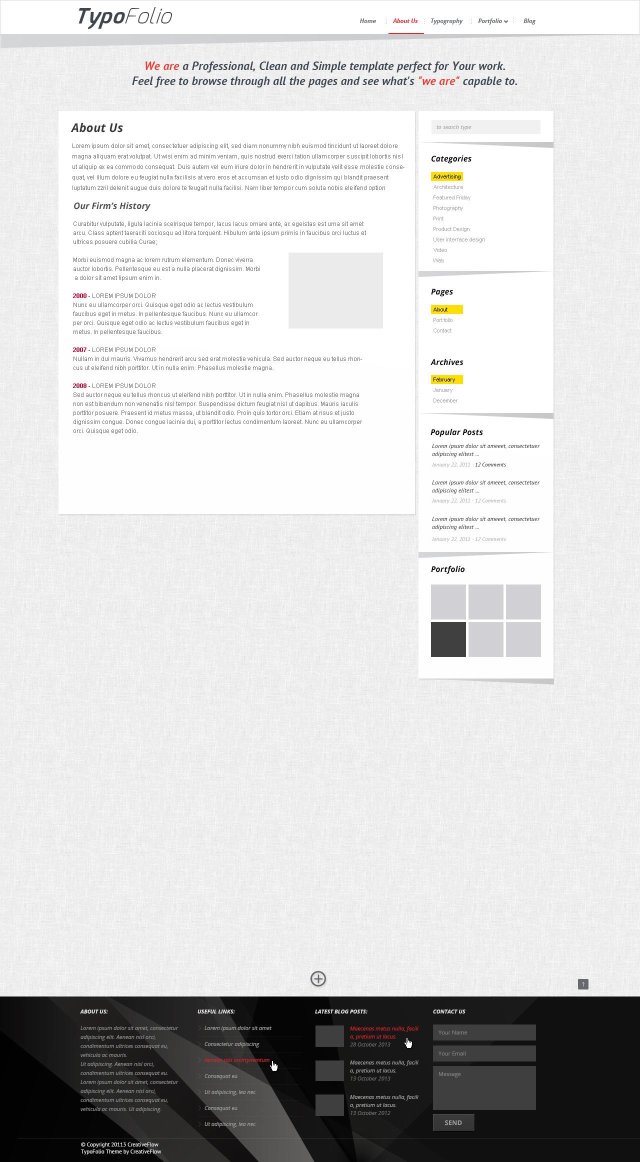TypoFolio White - Portfolio PSD Template