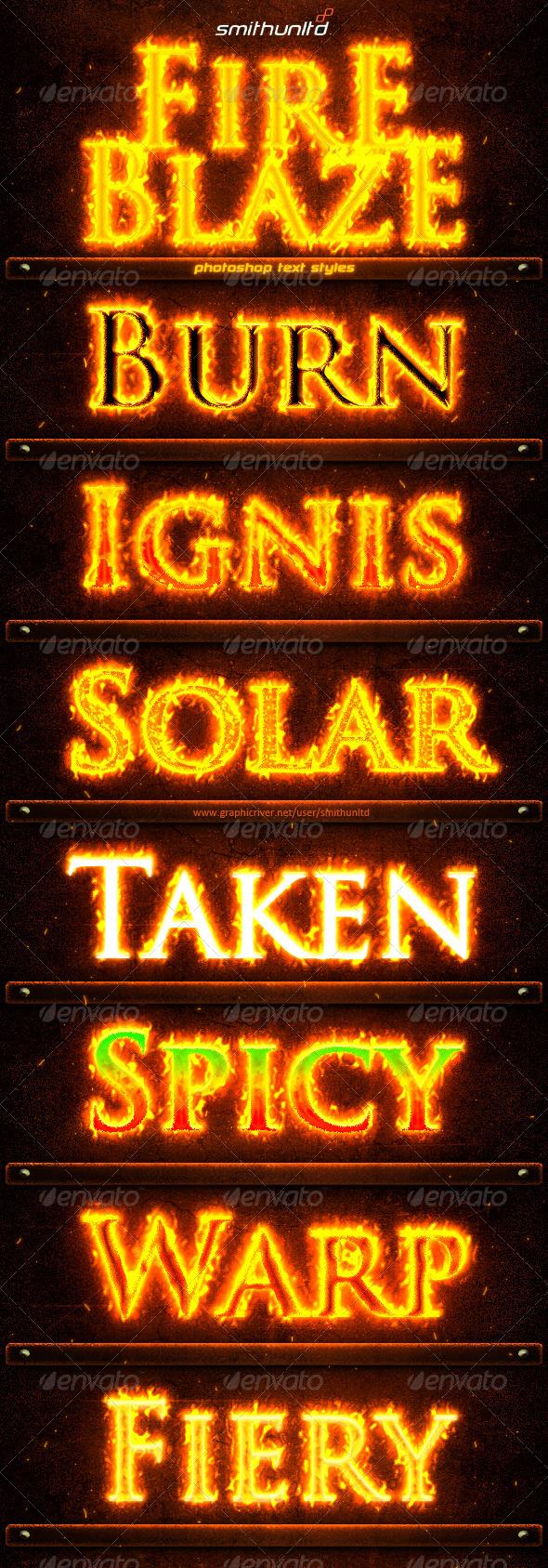 Fire Blaze Text Styles - Text Effects Styles