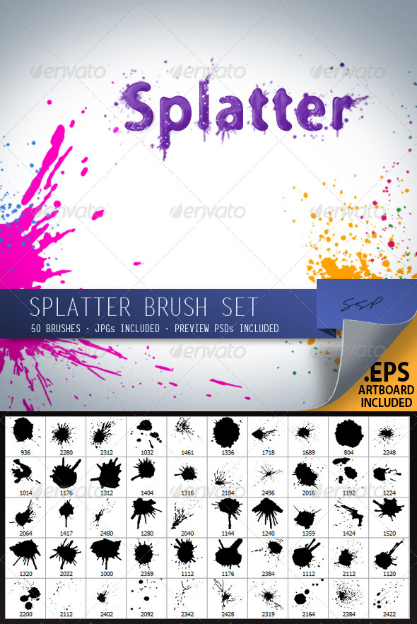 GraphicRiver 50 Splatter Brushes 4125596