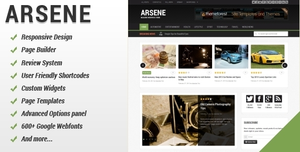 ThemeForest Arsene Blog Magazine WordPress Theme 4148782
