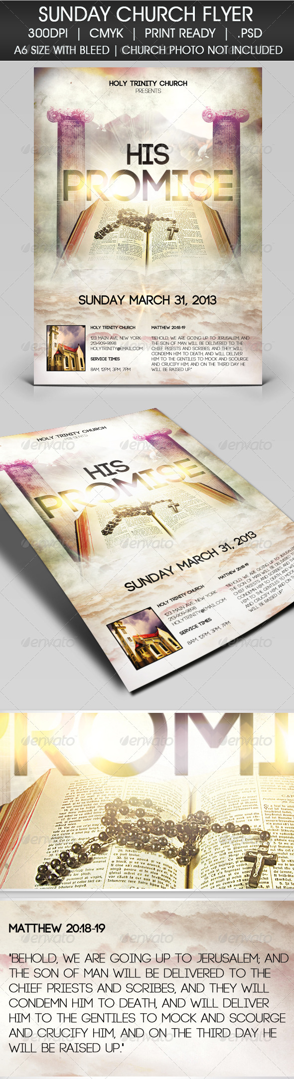 GraphicRiver Easter Sunday He Has Risen Flyer 3895738