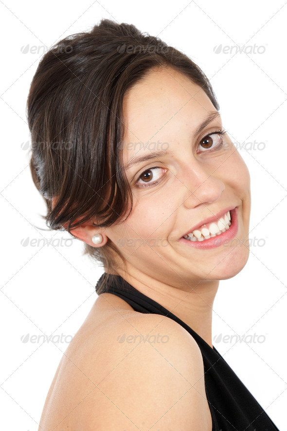 casual woman smiling - Stock Photo - Images