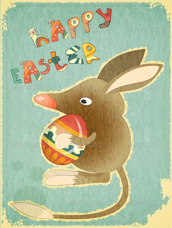 GraphicRiver Retro Vintage Card with Easter Australian Bilby 4190780